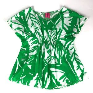 Lilly Pulitzer Palm Print Top with Pom Pom Trim